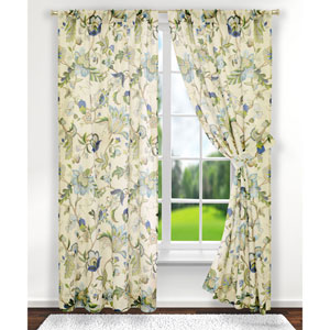 Brissac Blue 63 x 70-Inch Tailored Curtain Panel Pair with Tiebacks