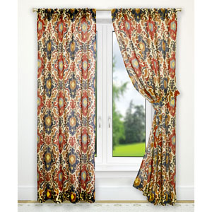 Tuscany Red 70 x 63-Inch Tailored Curtain Panel Pair with Tiebacks