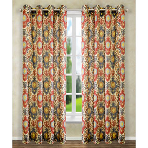 Tuscany Red 63 x 50-Inch Lined Grommet Curtain Single Panel