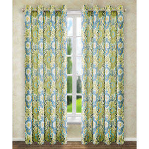 Tuscany Blue 84 x 50-Inch Lined Grommet Curtain Single Panel