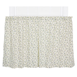 Marcia Blue Floral Vine Print 24 x 68-Inch Tailored Kitchen Tier Curtain Panel Pair