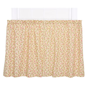 Marcia Green Floral Vine Print 24 x 68-Inch Tailored Kitchen Tier Curtain Panel Pair