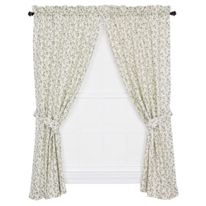 Marcia Blue Floral Vine 63 x 68-Inch Tailored Curtain Panel Pair with Tiebacks