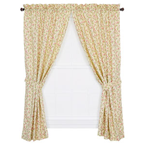 Marcia Green Floral Vine 84 x 68-Inch Tailored Curtain Panel Pair with Tiebacks