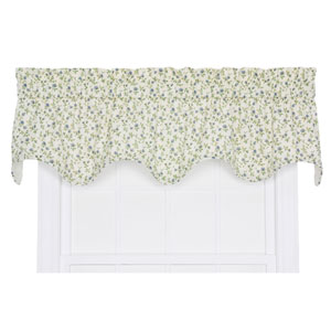 Marcia Blue Floral Vine Print 16 x 70-Inch Lined Scallop Valance