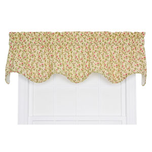 Marcia Green Floral Vine Print 16 x 70-Inch Lined Scallop Valance
