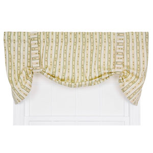 Cynthia Green Floral Stripe Print 24 x 60-Inch Tie-Up Valance