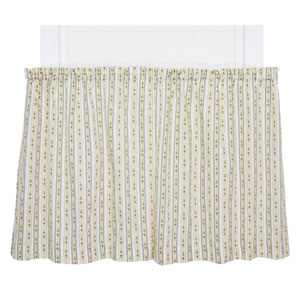 Cynthia Blue Floral Stripe Print 24 x 68-Inch Tailored Kitchen Tier Curtain Panel Pair