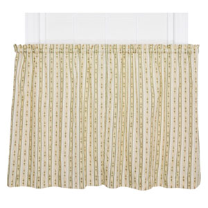 Cynthia Green Floral Stripe Print 24 x 68-Inch Tailored Kitchen Tier Curtain Panel Pair