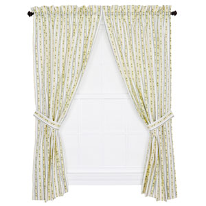 Cynthia Blue Floral Stripe 84 x 68-Inch Tailored Curtain Panel Pair with Tiebacks