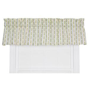 Cynthia Blue Floral Stripe Print 12 x 70-Inch Tailored Valance