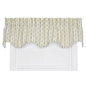 Cynthia Blue Floral Stripe Print 16 x 70-Inch Lined Scallop Valance