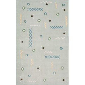 Tolani Gray Light Blue Abstract Rectangular: 2 Ft. x 3 Ft. Area Rug