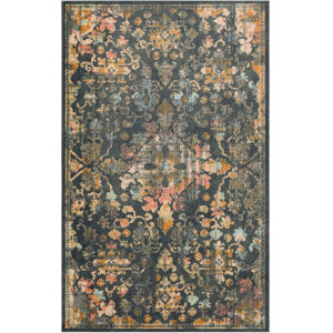 Isola Bella Gray Distressed Medallion Rectangular: 5 Ft. x 8 Ft. Area Rug