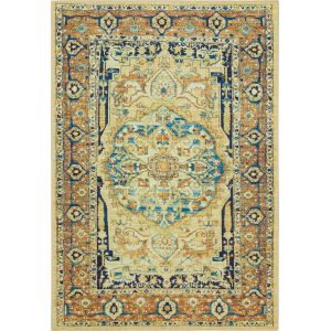 Sophea Yellow and Beige Rectangular: 9 Ft. x 12 Ft. Ornamental Area Rug