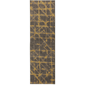 Enigma Smokey Gray Gold Runner: 2 Ft. 4 In. x 7 Ft. 10 In.