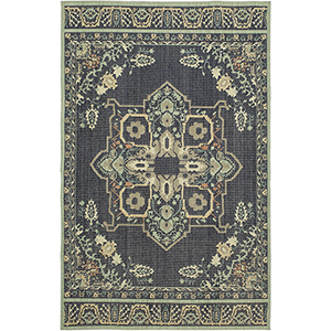 Vintage Tapis Left Bank Indigo Multicolor Rectangular: 2 Ft. x 3 Ft. Rug