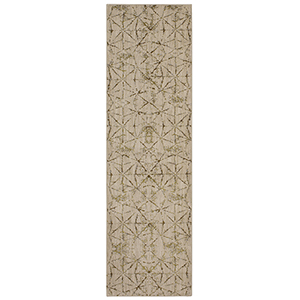 Enigma Quandry Brushed Gold Antique White Runner: 2 Ft. 4 In. x 7 Ft. 10 In.