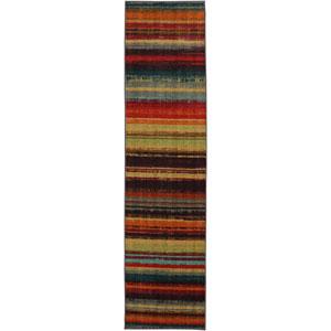 Boho Stripe Multicolor Runner: 2 Ft x 8 Ft Rug