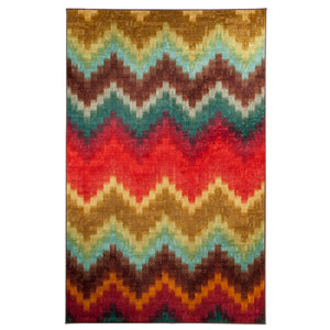 Painted Zig Zag Multi-Colored Rectangular: 5 Ft. x 8 Ft. Rug