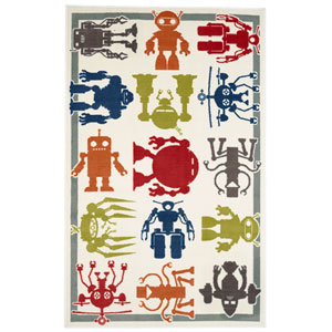 Aurora Multicolor Robot Army Rectangular: 5 Ft x 8 Ft Rug
