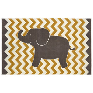 Aurora Yellow Lucky Elephant Rectangular: 5 Ft x 8 Ft Rug