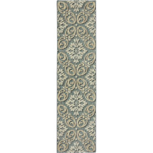 Euphoria Findon Bay Blue Runner: 2 Ft. 4 In. x 7 Ft. 10 In. Rug