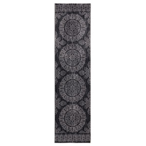 Pacifica Leawood Black Runner: 2 Ft. 4 In. x 7 Ft. 10 In. Rug