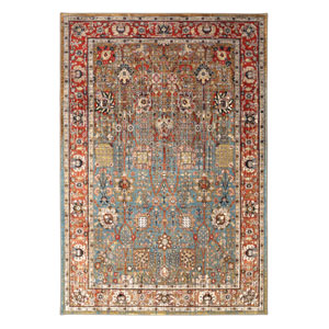 Spice Market Myanmar Aquamarine Rectangular: 5 Ft 3 In x 7 Ft 10 In Rug