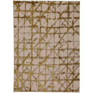 Enigma Contact Brushed Gold Rectangular: 5 Ft. 3-Inch x 7 Ft. 10-Inch Area Rug