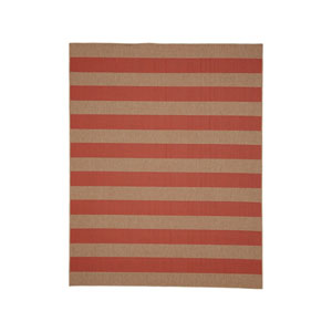 Portico Riviera Stripe Coral Rectangular: 5 Ft. 3 In. x 7 Ft. 10 In. Indoor/Outdoor Rug
