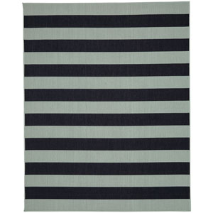 Portico Riviera Stripe Aqua Rectangular: 5 Ft. 3 In. x 7 Ft. 10 In. Indoor/Outdoor Rug