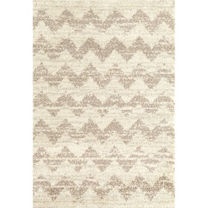 Prima Shag Mimoas Cream Rectangular: 5 Ft 3 In x 7 Ft7 In Rug