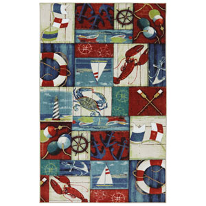 Escape N is for Nautical Multicolor Rectangular: 5 Ft x 8 Ft Rug