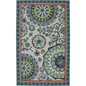 Escape Sea Findings Suzani Multicolor Rectangular: 5 Ft x 8 Ft Rug