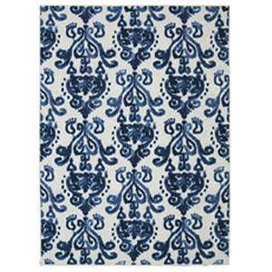 Transitional Ornamental Blue Rectangular: 5 Ft. x 8 Ft.