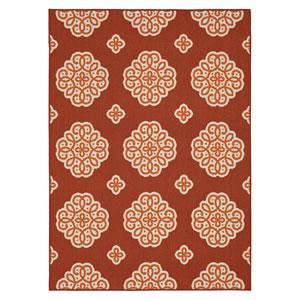 Contemporary Ornamental Crimson Rectangular: 5 Ft. x 7 Ft. Rug