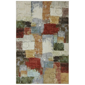 Contemporary Abstract Multicolor Rectangular: 5 Ft. x 8 Ft. Rug