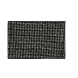 Casual Border Black and Charcoal Rectangular: 2 Ft. 6 In. x 3 Ft. 10 In. Rug