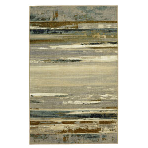 Contemporary Abstract Gray and Cream Rectangular: 5 Ft. x 8 Ft. Rug