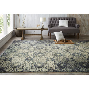 Contemporary Geometric Aqua and Beige Rectangular: 5 Ft. 3 In. x 7 Ft. 10 In. Rug