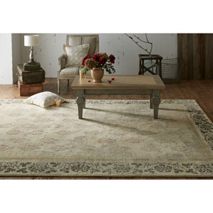 Transitional Ornamental Beige and Gray Rectangular: 8 Ft. x 10 Ft. Rug
