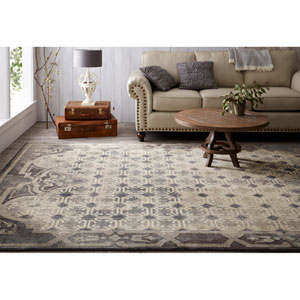 Transitional Geometric Gray and Beige Rectangular: 5 Ft. 3 In. x 7 Ft. 10 In. Rug