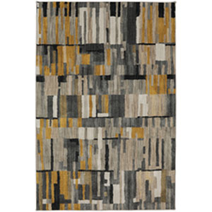 Contemporary Geometric Gunmetal Rectangular: 9 Ft. 6 In. x 12 Ft. 11 In.