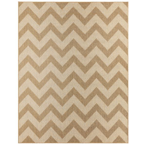 Contemporary Stripe Natural Rectangular: 5 Ft. 3 In. x 7 Ft. 6 In. Rug