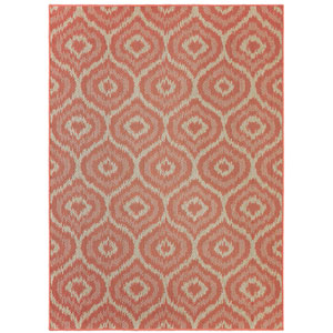 Contemporary Geometric Coral Rectangular: 5 Ft. 3 In. x 7 Ft. 6 In. Rug