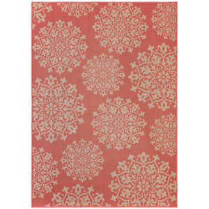 Contemporary Ornamental Coral Rectangular: 5 Ft. 3 In. x 7 Ft. 6 In. Rug