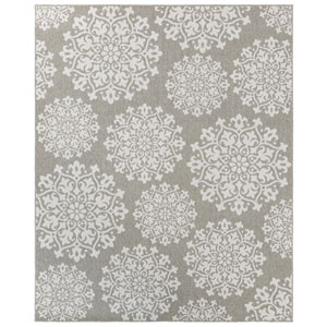 Contemporary Ornamental Gray Rectangular: 5 Ft. 3 In. x 7 Ft. 6 In. Rug