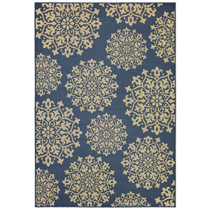 Contemporary Ornamental Navy Rectangular: 5 Ft. 3 In. x 7 Ft. 6 In. Rug