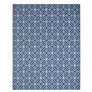 Contemporary Geometric Navy Rectangular: 5 Ft. 3 In. x 7 Ft. 6 In. Rug